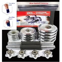 20kg Chrome Dumbell set (With Equipment Box + 30cm CONNECTOR + 2 pcs Palm Guard + 2 pcs Wrist Guard))